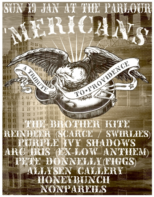 the 'Mericans Tribute Jan 19th 2014 Showcase Poster with Purple Ivy Shadows and Nonpareils