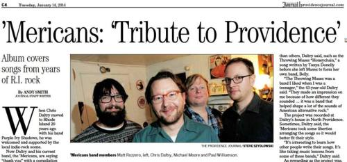 the 'Mericans a Tribute to Providence in the Providence Journal on January 14th 2014