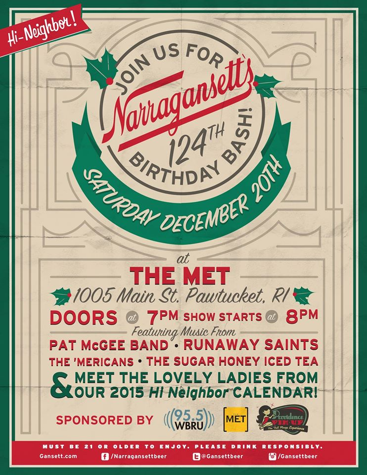 the 'Mericans play Narragansett Beer 124th Anniversary Show at the Met in Pawtucket on Saturday 20th December 2014